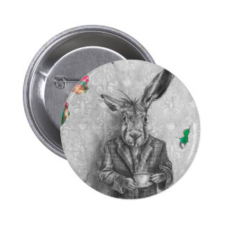 March Hare Button Alice In Wonderland Button Pin