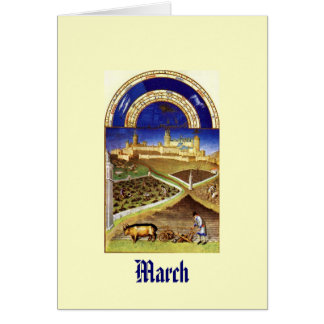 March - Les Tres Riches Heures du Duc de Berry Stationery Note Card