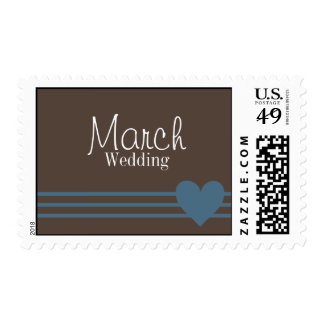 March Mocha and Blue Heart Wedding Postage