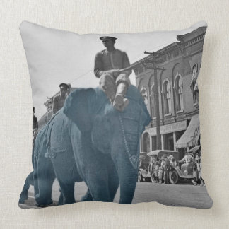 March of the Blue Blue Elephants Ca. 1920's circus Throw Pillow