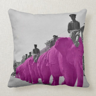 March of the Pink Elephant Circa 1920's Circus Throw Pillow