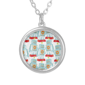 March of the robots silver plated necklace