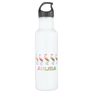 March of the Tropical Flamingos ARUBA Stainless Steel Water Bottle