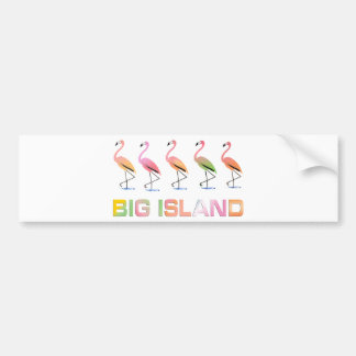 March of the Tropical Flamingos BIG ISLAND Bumper Sticker