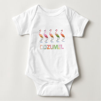 March of the Tropical Flamingos COZUMEL Baby Bodysuit