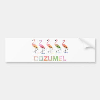 March of the Tropical Flamingos COZUMEL Car Bumper Sticker
