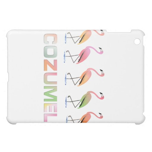 March of the Tropical Flamingos COZUMEL Cover For The iPad Mini