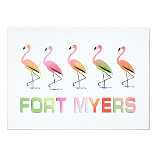 March of the Tropical Flamingos FORT MYERS 5x7 Paper Invitation Card