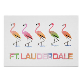 March of the Tropical Flamingos FT LAUDERDALE Poster