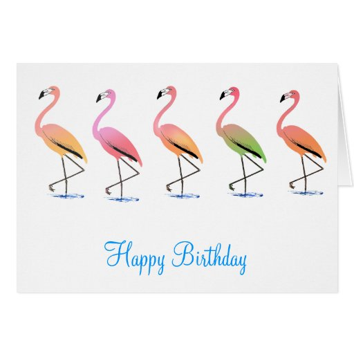 March of the Tropical Flamingos Greeting Card