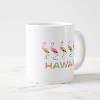 March of the Tropical Flamingos HAWAII Extra Large Mugs