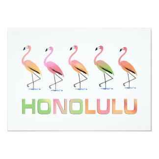 March of the Tropical Flamingos HONOLULU Card