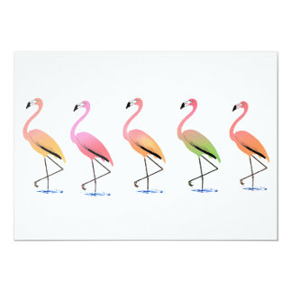 """March of the Tropical Flamingos 5"""" X 7"""" Invitation Card"""