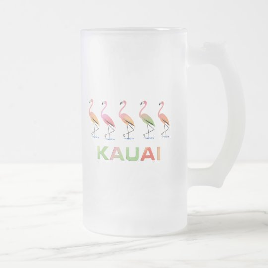 March of the Tropical Flamingos KAUAI Frosted Glass Beer Mug