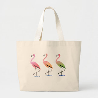 March of the Tropical Flamingos Large Tote Bag