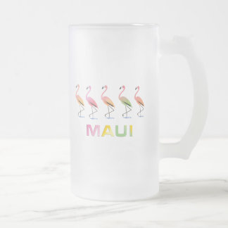 March of the Tropical Flamingos MAUI Frosted Glass Beer Mug
