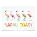 March of the Tropical Flamingos NAPALI COAST 5x7 Paper Invitation Card