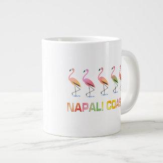 March of the Tropical Flamingos NAPALI COAST Large Coffee Mug
