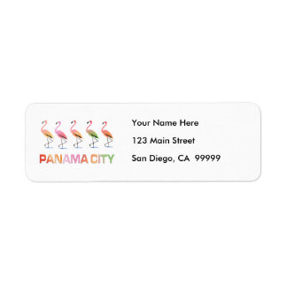 March of the Tropical Flamingos PANAMA CITY Return Address Label