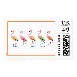 March of the Tropical Flamingos Postage Stamp