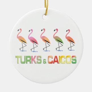 March of the Tropical Flamingos TURKS & CAICOS Ceramic Ornament