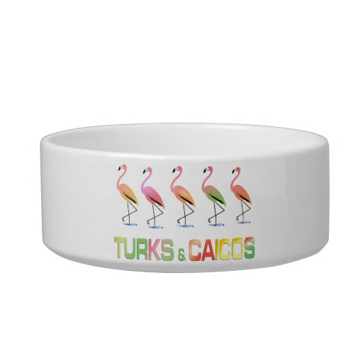 March of the Tropical Flamingos TURKS & CAICOS Cat Bowls