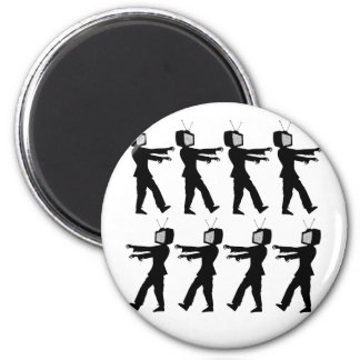 March of the Zombie TV Guys by Chillee Wilson 2 Inch Round Magnet