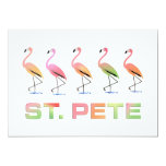 March of Tropical Flamingos - St Pete 5x7 Paper Invitation Card