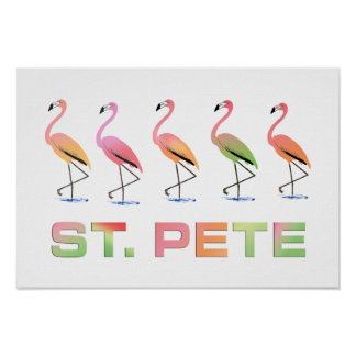 March of Tropical Flamingos - St Pete Poster