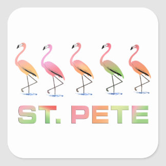 March of Tropical Flamingos - St Pete Square Sticker