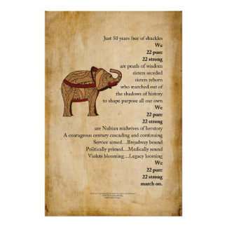 """March On""  Poem Elephant Parchment Poster"