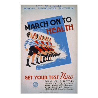 March on to Health Vintage Poster