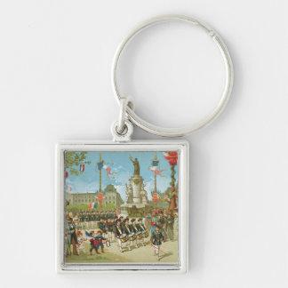 March-Past in the Place de la Republique Keychains