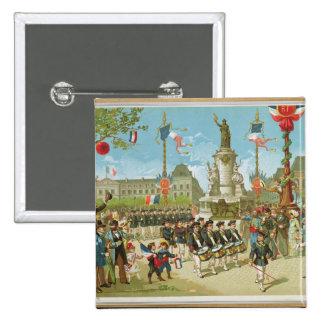 March-Past in the Place de la Republique Pinback Button