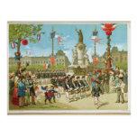 March-Past in the Place de la Republique Postcard