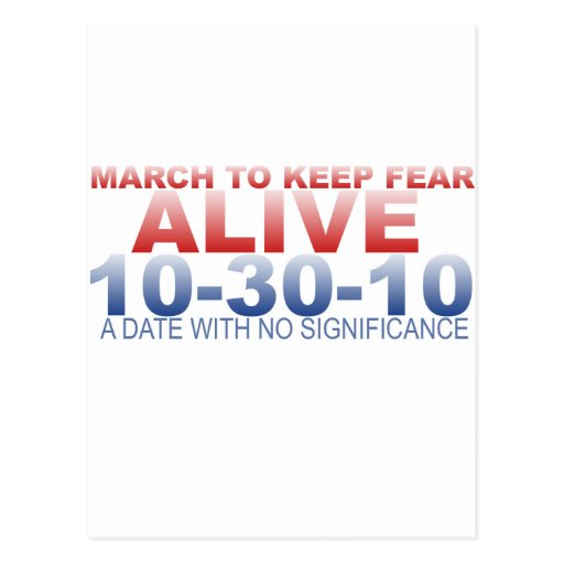 MARCH TO KEEP FEAR ALIVE POSTCARD