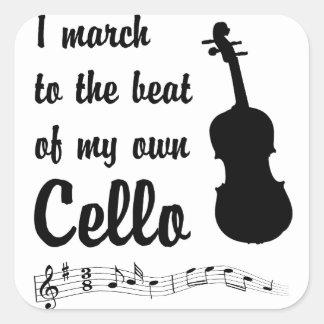 March to the Beat: Cello Square Sticker