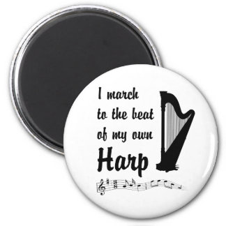 March to the Beat: Harp 2 Inch Round Magnet