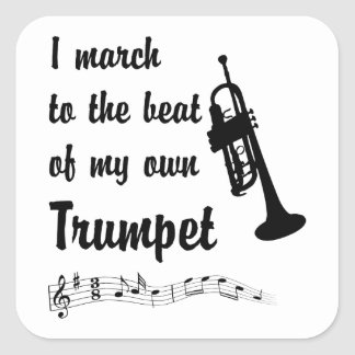 March to the Beat: Trumpet Square Sticker