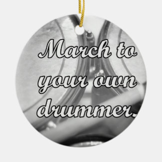 March to your own drummer tom background Double-Sided ceramic round christmas ornament