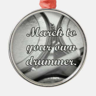 March to your own drummer tom background round metal christmas ornament
