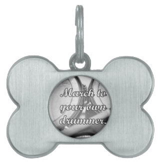 March to your own drummer tom background pet name tag