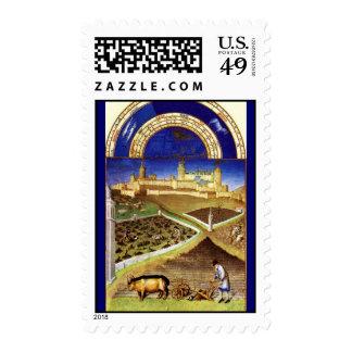 march - Tres Riches Heures du Duc de Berry Postage Stamp