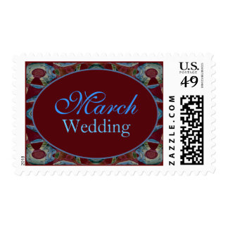 March Turquoise Brown Wedding Stamps