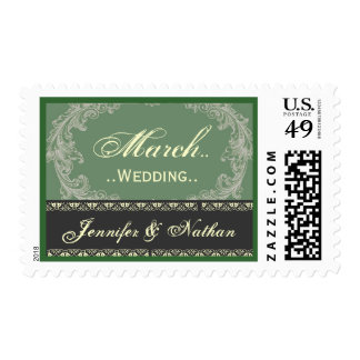 MARCH Wedding Sage Green and Gray Vintage Stamps