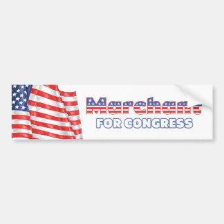 Marchant para la bandera americana patriótica del pegatina de parachoque