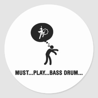 Marching Band - Bass Drum Classic Round Sticker