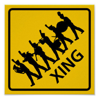 Marching Band Crossing Highway Sign