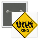 Marching Band Crossing Highway Sign 2 Inch Square Button