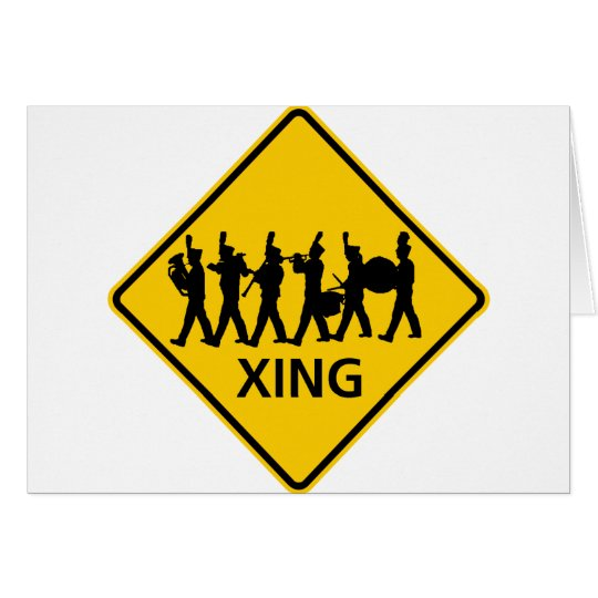 Marching Band Crossing Highway Sign Card